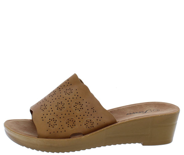 Cozy17 Tan Scalloped Perforated Open Toe Mule Wedge