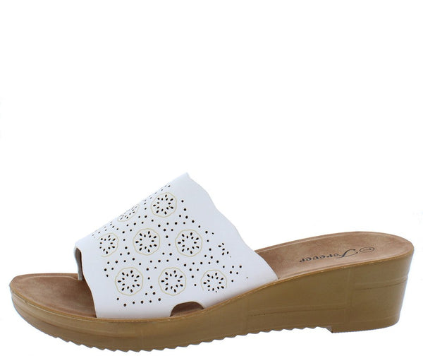 Cozy17 White Scalloped Perforated Open Toe Mule Wedge