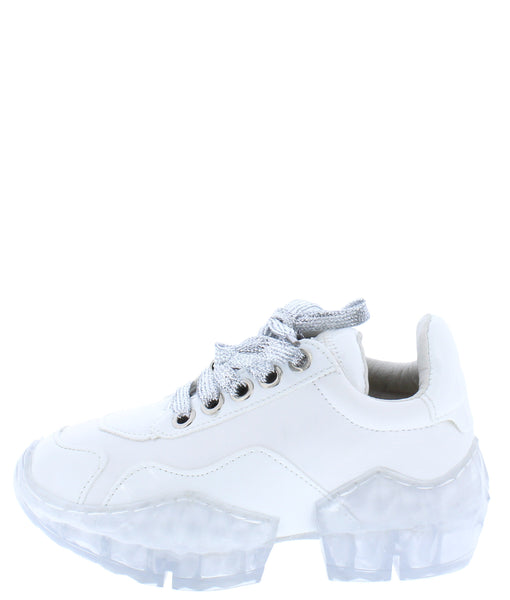 Crystal1k White Lace Up Chunky Clear Kids Sneaker Flat - Wholesale Fashion Shoes