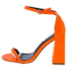Load image into Gallery viewer, Curvy Orange Open Toe Ankle Strap Tapered Block Heel - Wholesale Fashion Shoes ?id=16541201793068