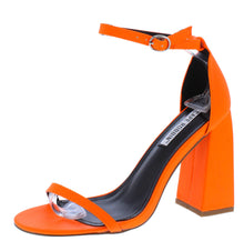 Load image into Gallery viewer, Curvy Orange Open Toe Ankle Strap Tapered Block Heel - Wholesale Fashion Shoes ?id=16541201563692