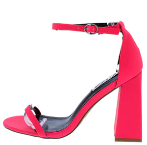 Curvy Pink Open Toe Ankle Strap Tapered Block Heel - Wholesale Fashion Shoes