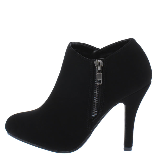 Cynthia27 Black Nubuck Side Zip Stiletto Ankle Boot - Wholesale Fashion Shoes