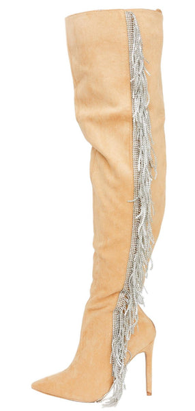 Dazzlyn Nude Sparkle Fringe Over The Knee Boot - Wholesale Fashion Shoes