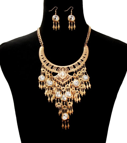 BURNISHED GOLD CRYSTAL STATEMENT NECKLACE AND EARRING SET
