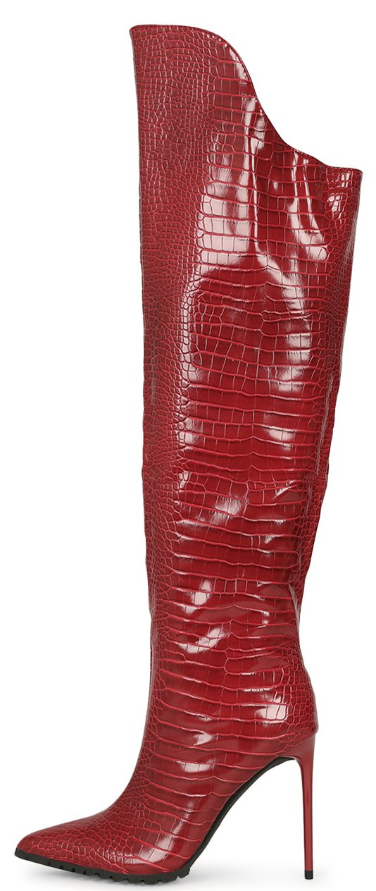 Brandi273 Wine Croc Pointed Toe Over The Knee Boot