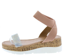 Load image into Gallery viewer, Double103 Mauve Open Toe Ankle Strap Cork Lug Wedge - Wholesale Fashion Shoes