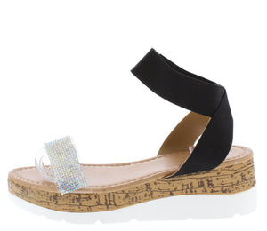 Double103 Black Open Toe Ankle Strap Cork Lug Wedge - Wholesale Fashion Shoes