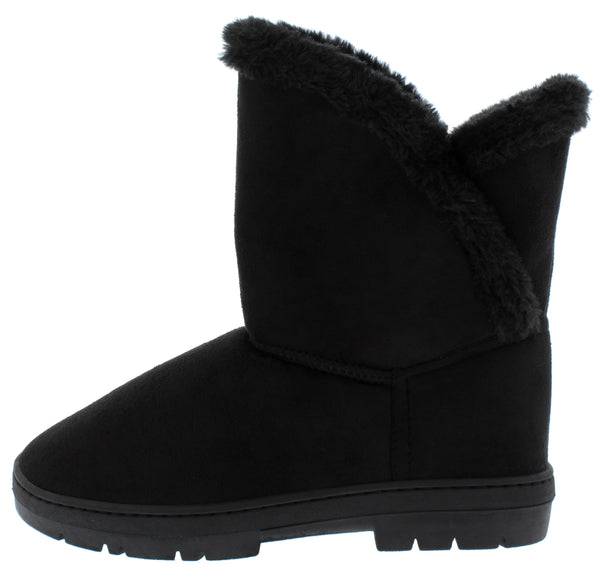 Janet285 Black Faux Fur Lined Pull On Lug Boot - Wholesale Fashion Shoes