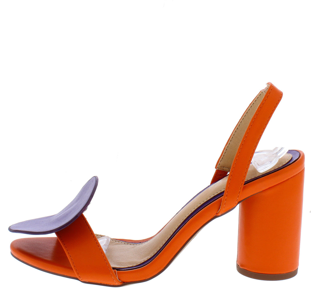 Alicia208 Purple Orange Disk Open Toe Slingback Block Heel