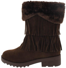 Load image into Gallery viewer, Daytona35 Brown Faux Fur Trim Fringe Boot