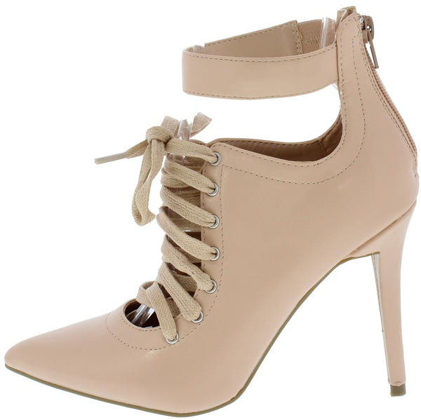 Dedicate27s Blush Pointed Toe Ankle Strap Lace Up Stiletto Heel