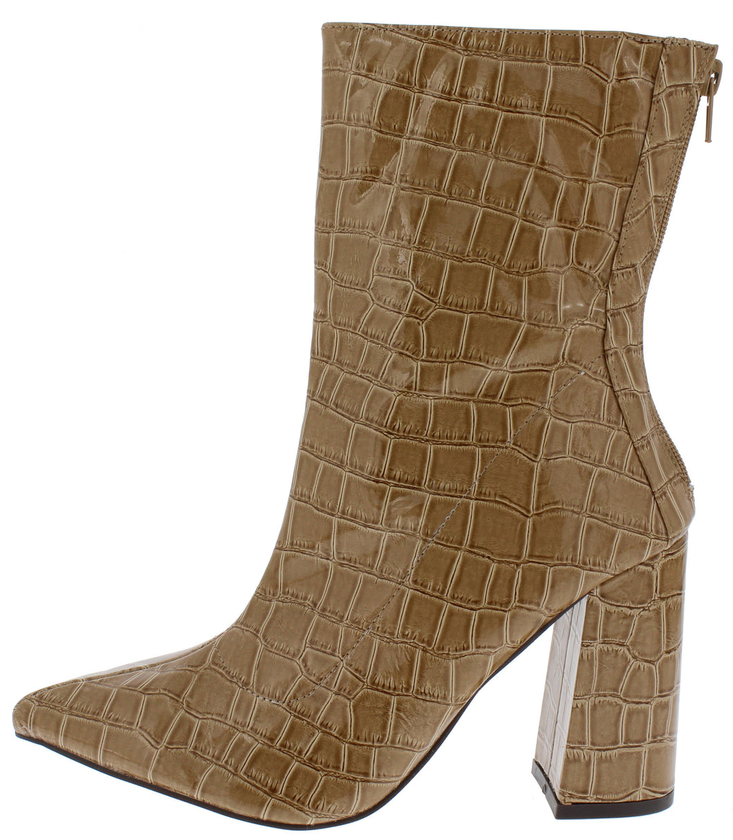 Noemi129 Nude Crocodile Open Toe Angled Heel Boot