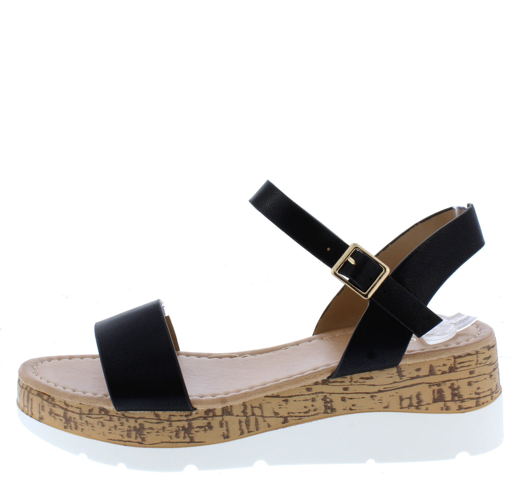 Double10 Black Open Toe Ankle Strap Cork lug Wedge - Wholesale Fashion Shoes
