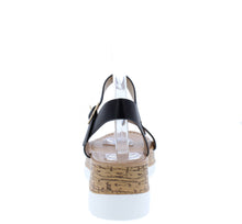 Load image into Gallery viewer, Double10 Black Open Toe Ankle Strap Cork lug Wedge - Wholesale Fashion Shoes