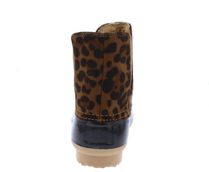 Ducky1 Leopard Pull On Stretch Panel Snow Boot - Wholesale Fashion Shoes