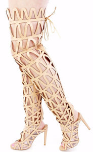 Ellie1 Nude Zig Zag Thigh High Lace Up Boot