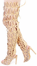 Load image into Gallery viewer, Ellie1 Nude Zig Zag Thigh High Lace Up Boot