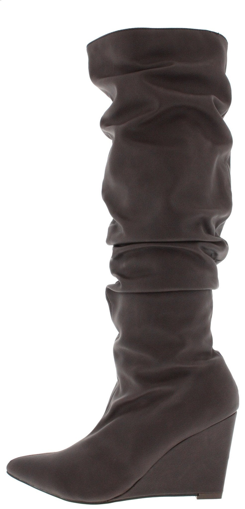 Anja Brown Slouchy Pointed Toe Wedge Boot