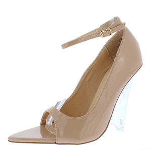 Edolie1 Nude Peep Toe Ankle Strap Lucite Wedge Heel - Wholesale Fashion Shoes ?id=16884866809900