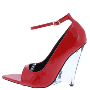 Edolie1 Red Peep Toe Ankle Strap Lucite Wedge Heel - Wholesale Fashion Shoes ?id=16884848656428