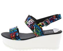 Load image into Gallery viewer, Effie10 Black Graffiti White Lug Sole Wedge - Wholesale Fashion Shoes ?id=11011904641
