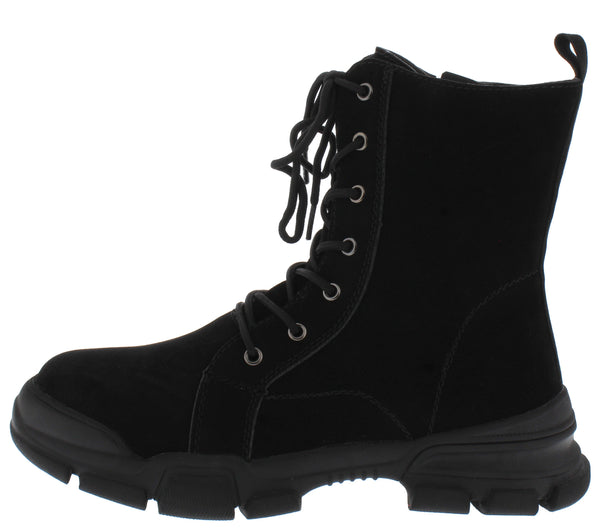 Elisa2 Black Lace Up Chunky Sole Combat Boot - Wholesale Fashion Shoes