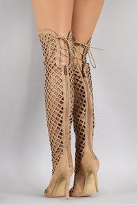 Elnora1 Nude Open Toe Multi Diamond Cut Out Lace Up Boot