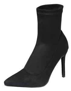Ensure15 Black Pointed Toe Pull On Stiletto Boot - Wholesale Fashion Shoes ?id=18077207756844