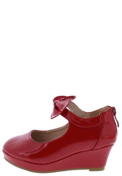 Erika64k Red Pat Bow Ankle Mary Jane Kids Flat - Wholesale Fashion Shoes