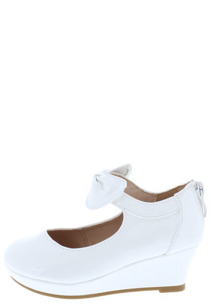 Erika64k White Pat Bow Ankle Mary Jane Kids Flat - Wholesale Fashion Shoes