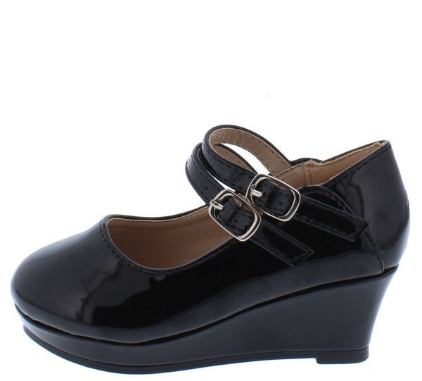 Erika65k Black Pat Double Ankle Strap Mary Jane Kids Flat - Wholesale Fashion Shoes