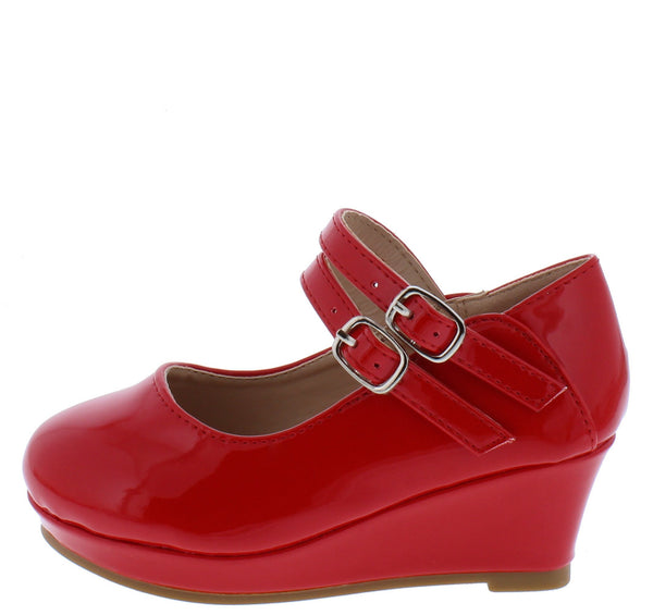 Erika65k Red Pat Double Ankle Strap Mary Jane Kids Flat - Wholesale Fashion Shoes