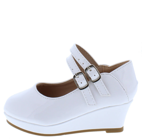 Erika65k White Pat Double Ankle Strap Mary Jane Kids Flat - Wholesale Fashion Shoes