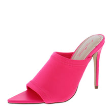 Load image into Gallery viewer, Exception25 Neon Pink Pointed Peep Toe Stiletto Mule Heel