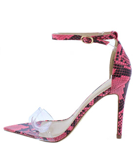 Exception28 Neon Pink Lucite Pointed Open Toe Stiletto Heel