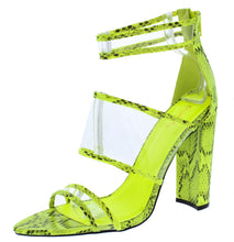 Load image into Gallery viewer, Eyeing02 Neon Yellow Black Pointed Open Toe Lucite Strap Heel - Wholesale Fashion Shoes