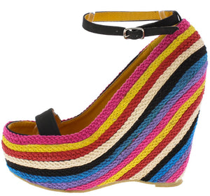 Fargo01 Black Pu Braided Rainbow Open Toe Ankle Strap Wedge - Wholesale Fashion Shoes ?id=6298124124225