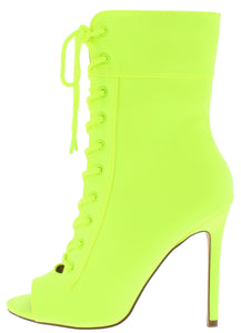 Filter Neon Yellow Peep Toe Lace Up Stiletto Boot - Wholesale Fashion Shoes