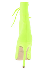 Load image into Gallery viewer, Filter Neon Yellow Peep Toe Lace Up Stiletto Boot - Wholesale Fashion Shoes