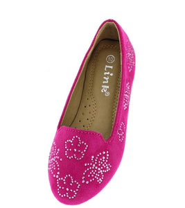 Flexible11k Fuchsia Butterfly Studded Loafer Kids Flat