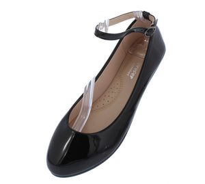 Flexible49 Black Round Toe Ankle Strap Ballet Flat - Wholesale Fashion Shoes ?id=16498822152236