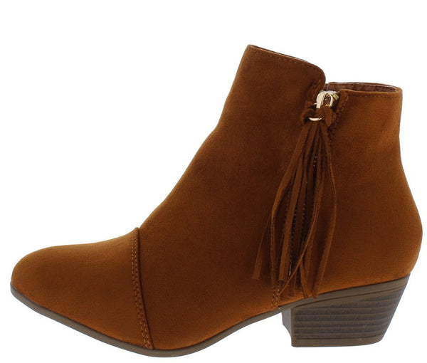 Flick03 Tan Tassel Zip Stacked Heel Ankle Boot - Wholesale Fashion Shoes ?id=13196410683436