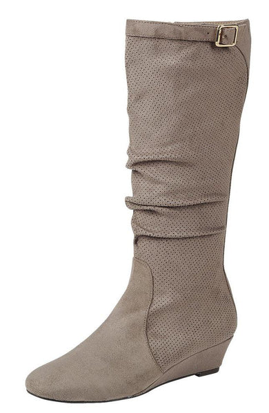 Frankie05 Taupe Knee High Almond Toe Wedge Boot - Wholesale Fashion Shoes