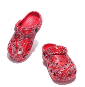 Gardendoll Red Print Cut Out Round Toe Slide On Kids Sandal - Wholesale Fashion Shoes ?id=17723065270316