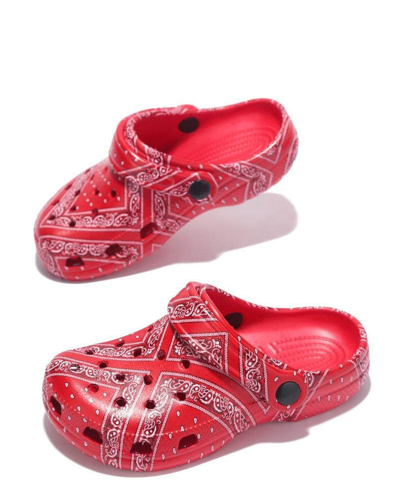 Gardendoll Red Print Cut Out Round Toe Slide On Kids Sandal - Wholesale Fashion Shoes ?id=17723067826220