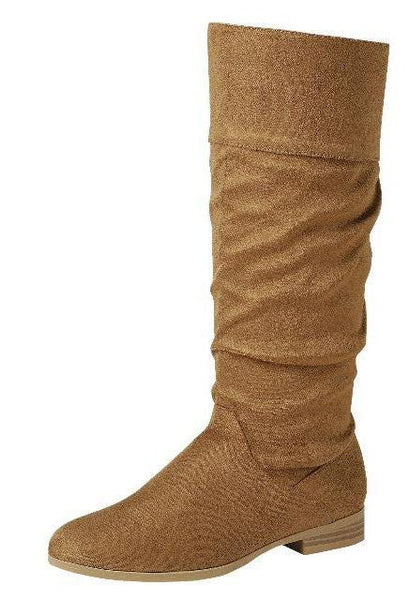 Gentle62 Tan Almond Toe Knee High Boot - Wholesale Fashion Shoes