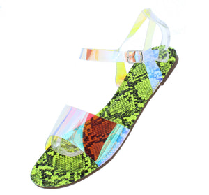 Tiana150 Neon Yellow Snake Women's Sandal - Wholesale Fashion Shoes