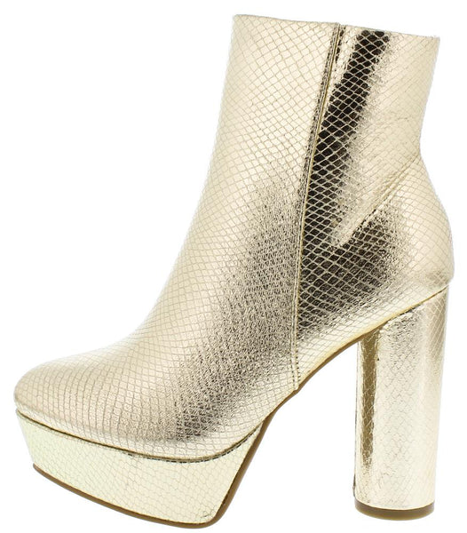 Goodvibes06m Gold Almond Toe Platform Ankle Boot