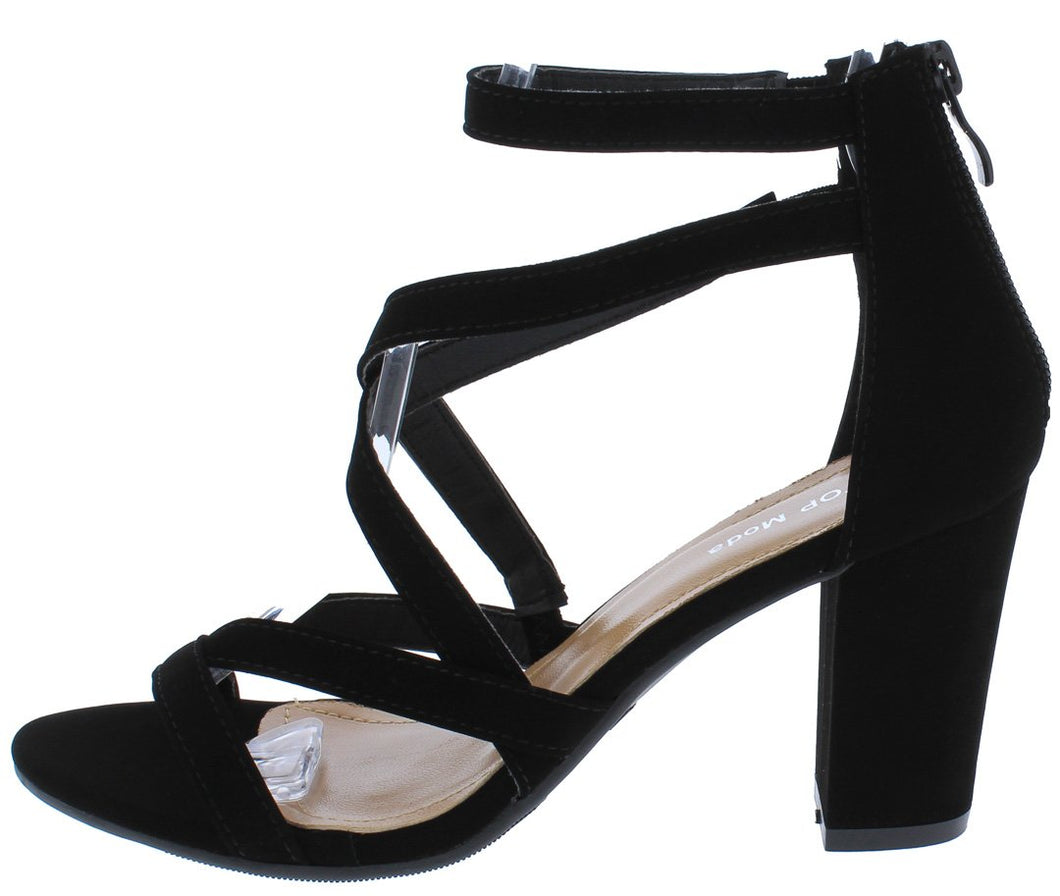 Hannah66 Black Multi Cross Strap Open Toe Tapered Heel